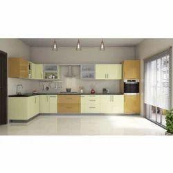 Modular Solid Steel L Shaped Kitchen Cabinet