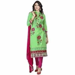 Rajnandini Green Heavy Glass Cotton Embroidered Unstitched With Zari Work Weaved Dupatta