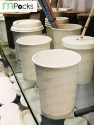 Mpacks Plain and Printed Disposable Paper Glass with Lid