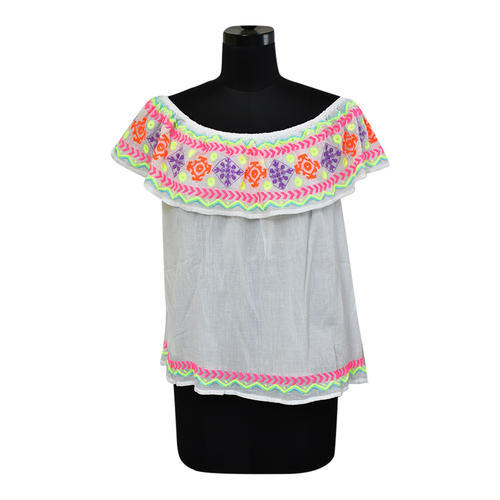 Cotton Embroidered Off Shoulder Top