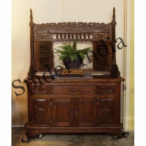 Brown Antique Teak Wood Cabinet