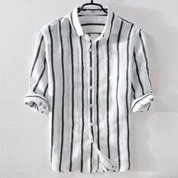 Cotton Mens Striped Readymade Shirts, Machine And Hand Wash