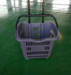 Plastic Red/grey/green/yellow Rolling Shopping Basket, For Supermarket