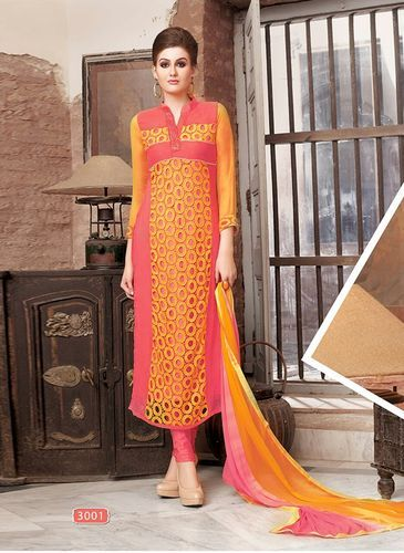 Embroidered Pure Georgette Semi-Stitched Salwar Suit