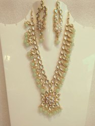 Beautiful Kundan Necklace Set With Hanging Earrings, Artificial Jewelry, Wedding Necklace