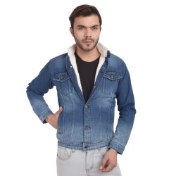 Skupar Dark Blue Men Denim Jacket With Fur
