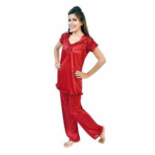 8ec7a2ac60 Plain Satin Ladies Red Night Suit, Rs 1295 /piece, Bajaj Fashions ...