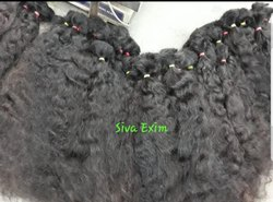 Black Raw Bulk Temple Human hair, for Parlour