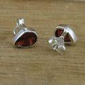 Indian Garnet Gemstone Silver Handmade Jewelry Stud Earring