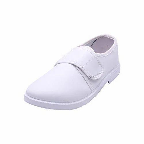 White Slyder Girls Velcro School Shoes