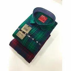 90 ML Cotton Mens Fancy Check Shirt, Handwash, Size: Xxl
