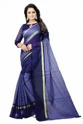 Casual Wear Printed Striped Fashion Poly Cotton Saree  (Dark Blue), 6 m (with blouse piece)