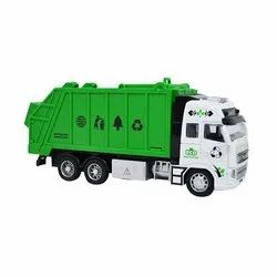 Green And White Plastic Garbage Truck Toy Pull Back Truck Toy for Toddlers Kids