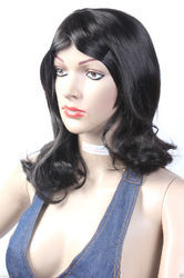 13 Inch Tilted Bangs Shoulder Length Wave and Curly Wigs