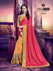 Indian Women Pink And Orange Silk And Marble Chiffon Saree