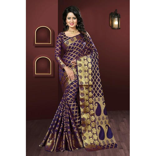fa50810de0f885 Purple Party Wear Ethnic Banarasi Silk Party Ware Saree