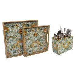 Designer Wooden Two Pieces Serving Trays Set with Cutlery Stand