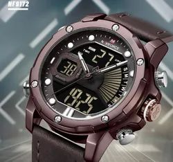 Round NF9172 Naviforce Dual Time Digital Analog Function Fashion Watch, For Formal