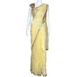 Party wear Yellow Net Saree, 5.5 m (separate blouse piece)