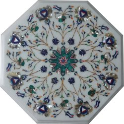 Pietra Dura Marble Stone Inlay Oval Table Top