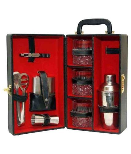 Portable Leather Bar Set