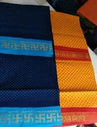 handprinted Casual Wear OSP BRAND Madurai Traditional Sungudi Cotton Sarees, Without Blouse, 5.4 mts