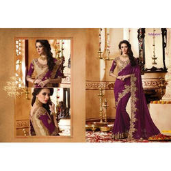 Georgette Ladies Purple Saree, Length: 6.3 m (With Blouse Piece)