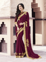 Chiffon Maroon Lace Work Saree With Blouse Piece