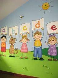 Smooth Acrylic Cartoon painting / preschool wall painting / kids room / play school