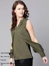 Women's Solid Designer Sleeves Top