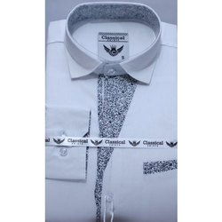 White Mens Cotton Party Shirt