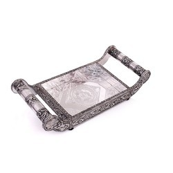 Metal And Wooden Black Serving Tray