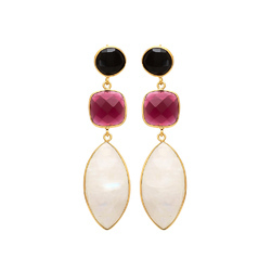 Handmade Beautiful 925 Sterling Silver Micron Gold Plated Multi Gemstone Earring