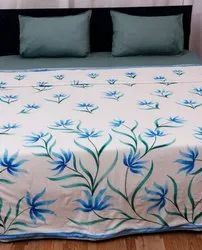 Cotton White and Blue Brush Printed Dohar Double Size 90x108
