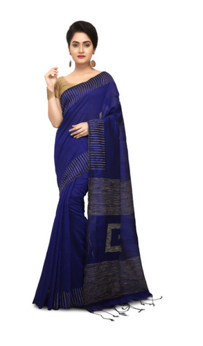 57971e9ae72599 Blue Bengal Handloom Navy Cotton Silk Saree With Blouse