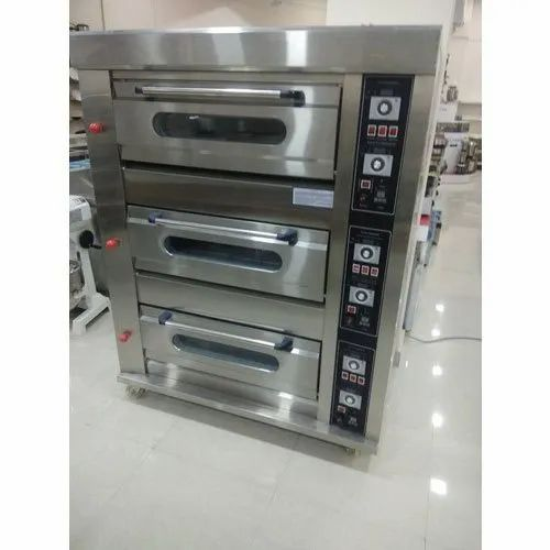 Stainless Steel Electric Three Deck Oven, 2000L, Frost-Free