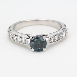 0.90ct Solitaire Blue CVD Diamond Ring VS2 14k White Gold IGI Certified Stone