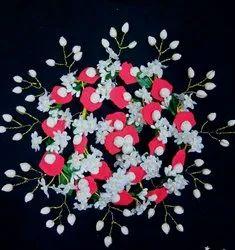 Red white flowers hair bun