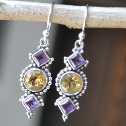 Round & Sq Amethyst And Citrine Gemstone Earring, Size: 7 Mm, 4 Mm