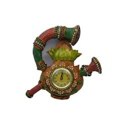 Wooden Paper Mache Sahanai Kalash Wall Clock