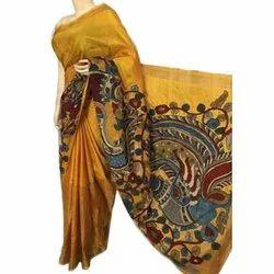 Party Wear Ladies Printed Cotton Kalamkari Saree, Length: 6.3 Meter