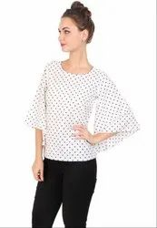 White Printed Crepe Top