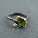 Natural Fire Opal Green Oxidized Gemstone Ring