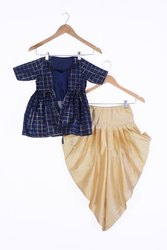 Silk Party Wear Kids Top With Patiala, Machine wash