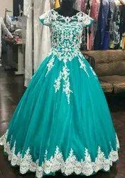 Sky Blue Organza Party Wear Gown