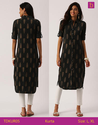 d053a83b5d8 Indusdiva Charcoal Tunic Tops Tunics For Women Shirt Style Kurta With Khadi  Print And Curved Hemline