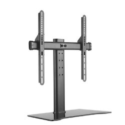 Black Universal Steel And Glass Tabletop TV Stand- IM05SLDT03