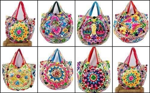 72a27f8f9d Multicolor Kutch Embroidery Aari Work Indian Handbag -banjara Tote ...
