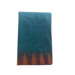 Blue Base Bordered Poly Cotton Saree