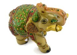 Handmade Marble Elephant Figurine With Miniature Painting